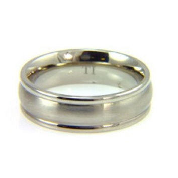 Mens Contemporary Style Titanium Wedding Band size 9.50