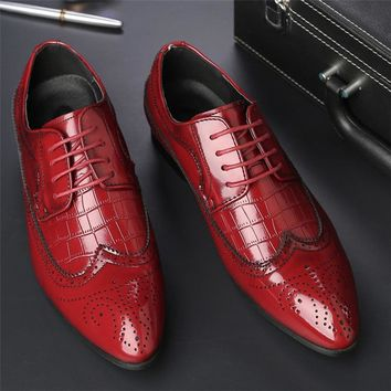 Italian Luxury Lace Up Pointed Brogue Shoes