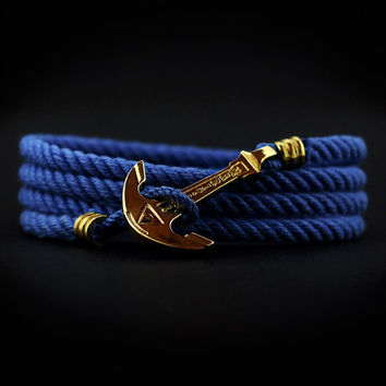 Anchor Bracelet. GOLD PLATED. Blue Bracelet. Sea Nautical Bracelet. Marine Rope Bracelet. Mens Bracelet. Women Bracelet. Men Rope Bracelet