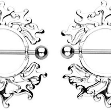 Tribal Flare Flames Nipple Shields Rings Bar Barbell - 14g Surgical Steel - Sold as a Pair