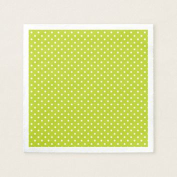 Vivid Lime Green White Polka Dots Paper Napkins