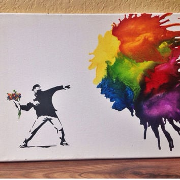 "Banksy's ""Love is in the Air"" melted crayon art"