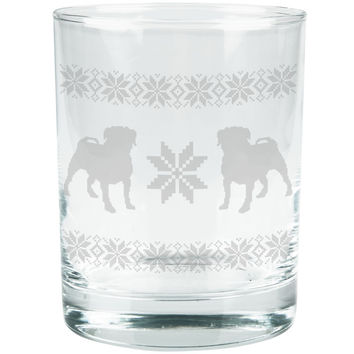 Pug Dog Ugly Christmas Sweater Etched Glass Tumbler