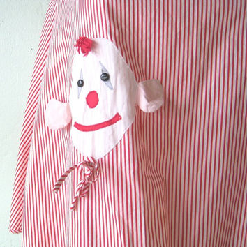 Cute Clown Applique-Embellished Vintage Red/White Candy Stripe Pinafore Apron for Large Girl, XXS Woman, or Chil - Cute Midcentury Art Apron