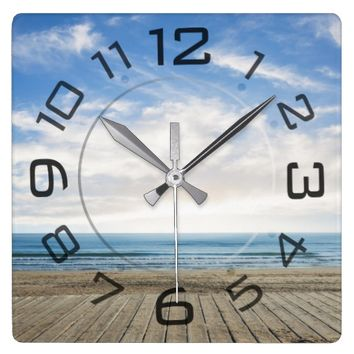 Summer beach landscape wall clock