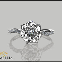 Camellia Flower Ring 14K White Gold Diamond Ring,Engagement ring,Floral Ring,Promise Ring,Ladys Jewelry,Unique Engagment Ring,Diamond Ring.