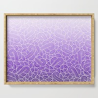 Faded purple and white swirls doodles Serving Tray by savousepate
