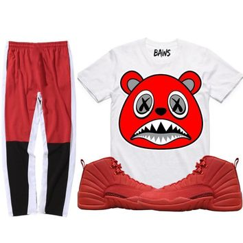 Jordan 12 Gym Red Sneaker Outfit - ANGRY BAWS - Shirt + Track Pants