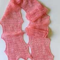 Summer knit scarf, pink summer lace scarf, merino silk summer lace scarf,  pink lace long scarf.
