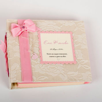 Baby Shower Book, Baby Girl Guest Book, Continues Birthday Sign In Book,  Baby