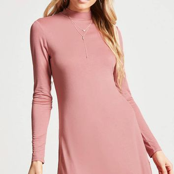 Mock-Neck Swing Dress