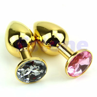 Gold Alloy Chome Metal Plated Jeweled Butt Toy Plug Anal Insert Sexy Stopper