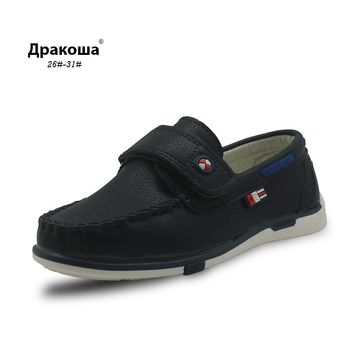 Apakowa Children's Casual Flat Shoes 2017 Fashion New Boys Moccasins Kids Boy Non-slip Loafers PU Leather Shoes Arch Support