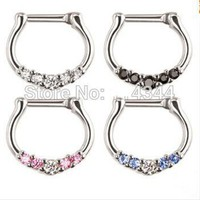 ac PEAPO2Q 1pcs Nose Ring body piercing jewelry colorful Surgical Steel CZ Clicker Small Hoop Septum Jewelry