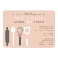 Modern Kitchen Bridal Shower Pink and White 5x7 Paper Invitation Card