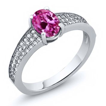 2.13 Ct Oval Pink Created Sapphire 925 Sterling Silver Ring