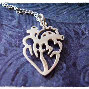 Silver Open Anatomical Heart Necklace - Sterling Silver Open Anatomical Heart Charm on a Delicate 18 Inch Sterling Silver Cable Chain