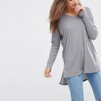 ASOS Top With V Neck In Slouchy Rib at asos.com