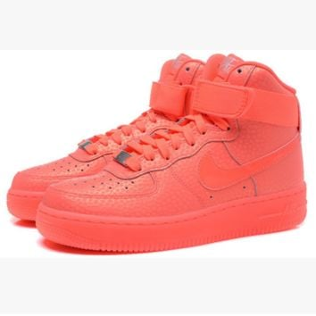 NIKE Women Men Running Sport Casual Shoes Sneakers Air force High tops Scale Orange