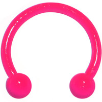 "18 Gauge 3/8"" Neon Pink Horseshoe Circular Barbell 3mm 
