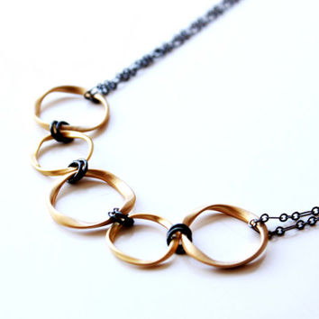Mixed Metal Necklace, Gold and Gun metal, Black and gold, Graduation, Anniversary gift, Jewelry trends 2105, Spring trends, Prom jewelry