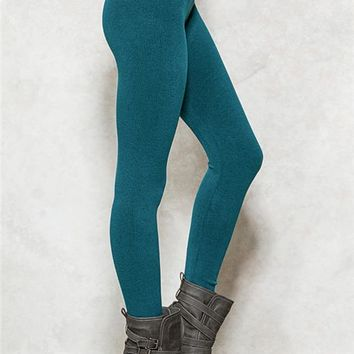 Teal French Terry Leggings