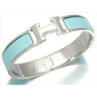 HERMES Clic Clac PM Bracelet Bangle Light Blue Silver Ladies FS NOS Mint #1897