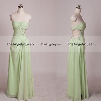 Unique Asymetric See-through Beading Waist Strapless Floor-length Party Dress,Bridesmaid dress,cocktail dress,evening dress,senior prom