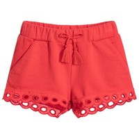 Girls Red Fancy Soft Cotton Shorts (Mini-Me)
