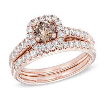 1-1/4 CT. T.W. Champagne and White Diamond Frame Bridal Set in 14K Rose Gold
