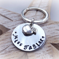 teacher gift, handstamped keyring, keychain, thank you teacher, personalized, personalised, apple charm