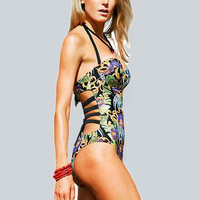 Printed One Piece Swimsuit Bandage Bathing Suit Beach Wear