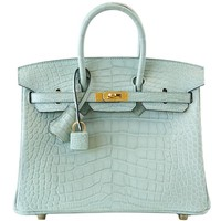 Hermes Vert D'Eau Matte Alligator Gold Hardware Birkin 25 Bag