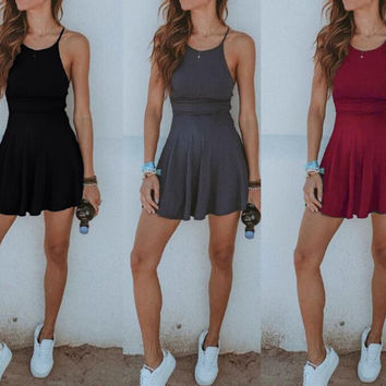 New Summer Dress Sexy Women Solid Color slip dress-0628
