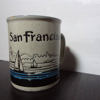 Vintage San Francisco Retro Style Nautical/Beach/Sailing Souvenir Stoneware Ceramic Coffee Mug