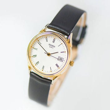 Unused quartz watch Sekonda, vintage gold plated women watch, tomboy watch round case, minimalist wristwatch gift, premium leather strap new
