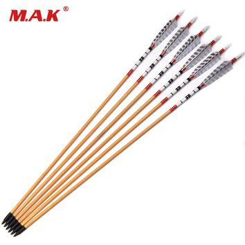 6/12/24 pcs Wooden Arrow Length 31.5 inch With Peacock Plume White Turkeys Feather For Traditional Bow Hunting/Shooting Practice