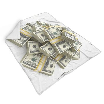 100 Dollar Bill Stacks Sherpa Blanket