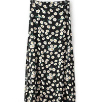 Black White Floral Printed Maxi Skirt