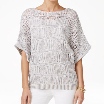 Jeanne Pierre Open-Knit Marled Sweater - Sweaters - Women - Macy's