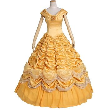 Princess Belle Costume Adult Women Beauty And The Beast Costume For Halloween Cosplay Dress  Custo Made Any Size