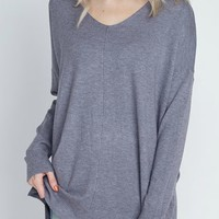 Simply Heaven V-Neck Sweater - Storm
