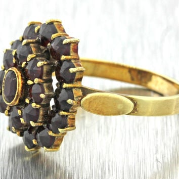 1970s Vintage Estate 14k Solid Yellow Gold 1.05ctw Garnet Cluster Cocktail Ring