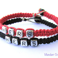 Hers and Hers Bracelets, Red and Black Handmade Hemp Jewelry for LGBT Couples