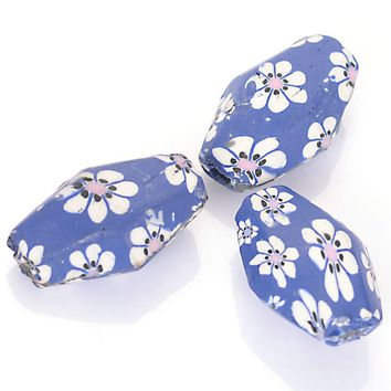 20 Pcs Handmade Multiple Flower Pattern Polymer Clay Geometric Spacer Fimo Beads For DIY Bracelet Jewelry Making Accessories