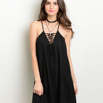 Black Eyelit Lace Up Black Dress