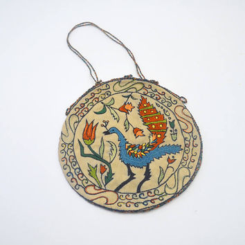 Antique Embroidered Peacock Purse, South Asian / Kashmiri Style Embroidery, Round Fabric Purse, circa 1900s-1930s