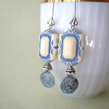 Turquoise ivory patina earrings