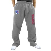 New York Rangers Two Hit Fleece Pants - Gray