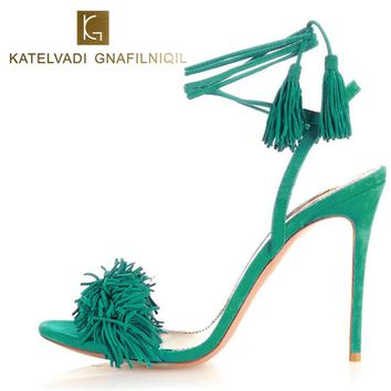 Summer Sandals Women High Heels Fringe Gladiator Sandals Women Lace Up Shoes Woman Suede Leather Green Ladies Sandals B-0064